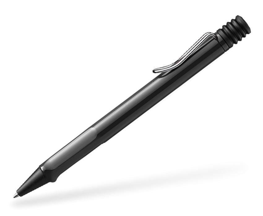 Schwarzer LAMY safari Kugelschreiber mit Metallclip Seitenansicht